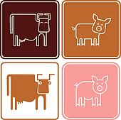 Pig and cow - vector icons