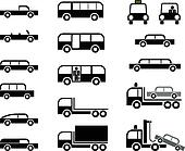 Cars and trucks - vector icons