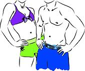 man and woman fitness body illustra