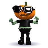 3d Pumpkin head monster wearing sunglasses