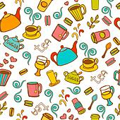 Tea and coffee  seamless background.