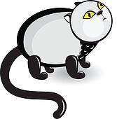 Cartoon gray cat with sad eyes