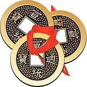 Chinese coin tied with red ribbon. A square within a circle of ancient Chinese coins of the Tang Dynasty, copies of which are used in Feng Shui.