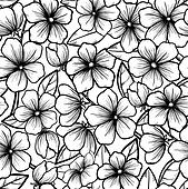 Beautiful seamless background in black-and-white style. Blossoming branches of trees. Outline of flowers. Symbol of spring.
