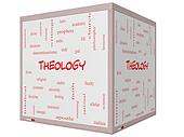 Theology Word Cloud Concept on a 3D cube Whiteboard