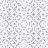 White and Pale Purple Fleur-De-Lis Pattern Textured Fabric Background that is seamless and repeats