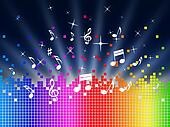 Rainbow Music Background Shows Harmony Sounddwaves Or Piece