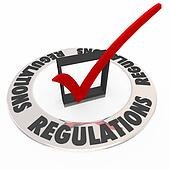 Regulations Word Check Mark Box Rules Followed Completed