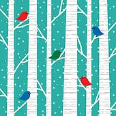 birch trees and birds