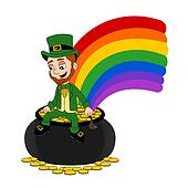 Cartoon leprechaun sitting on a pot