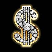 Bling-bling. Dollar symbol.