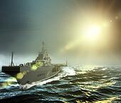 warship at sea