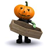 3d Pumpkin head holding a coffin