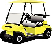 Electrical golf car on isolated wh