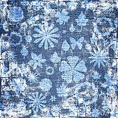 blue grunge floral fabric texture