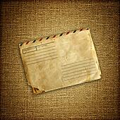 vintage envelop on brown canvas