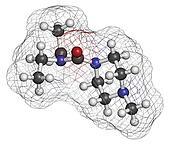 Diethylcarbamazine anthelmintic drug molecule.