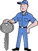 locksmith standing front key
