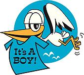 "Stork Carrying ""It's A Boy!"" Sign"