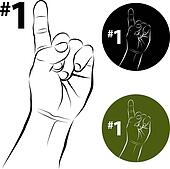 Number One Hand Gesture Line Drawing