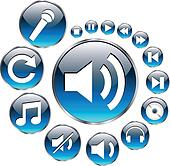 Music icons set, blue.