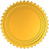 Golden award medal blank seal