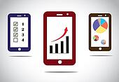 mobile business progress charts and arrow infographics icons. different mobile business success based infographic concept images with arrow, bar and pie charts and to do list - concept illustration