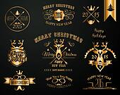 2015 Christmas Gold decorations set of calligraphic and typographic designs