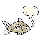 cartoon funny fish with speech bubble