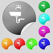Washbasin icon sign. Set of eight multi colored round buttons, stickers.