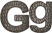 Alligator skin font G lowercase and capital letters