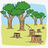 Illustration deforest cartoon