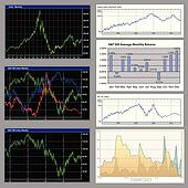 Stock diagrams, business graphs