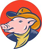 pig with cowboy hat and bandanna