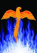 Phoenix bird with blue flame