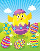 Easter Chick Hatching from Egg