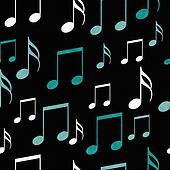 Teal, Black and White Music Notes Tile Pattern Repeat Background
