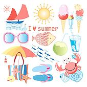 summer set of different objects