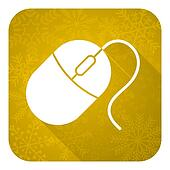 computer mouse flat icon, gold christmas button