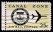 CANAL ZONE, PANAMA - CIRCA 1973: A 25-cent stamp printed in the Canal Zone, Isthmus of Panama, shows the Canal Zone seal and a jet, circa 1973