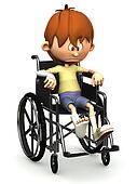 Sad cartoon boy in wheelchair.