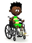 Sad black cartoon boy in wheelchair.