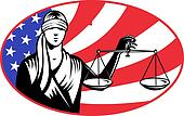 lady blindfold scales of justice american stars and stripes flag in background set inside ellipse.