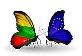 Two butterflies with flags on wings as symbol of relations Lithuania and European Union
