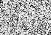 Decorative nature ornamental seamless pattern. Zen-tagle style.