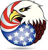 Eagle had and flag of America