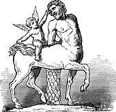 Chiron Centaur and Cupid statue or Furietti Centaurs and cupid vintage engraving
