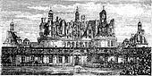 Chateau de Chambord, Loire Valley, France vintage engraving