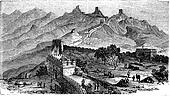 Great Wall of China, during the 1890s, vintage engraving