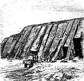 Guano quarry, Chincha Islands in Peru, during the 1890s, vintage engraving